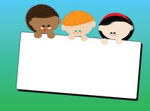 Children with a card. Children hold a card, background Stock Photography