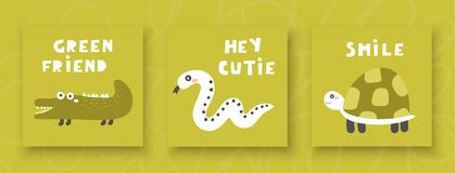 Children cards, postcards for boy or girl with crocodile, snake, turtle. Green friend, hey cutie, smile lettering quotes. Cute invitations, pages, cover for vector illustration