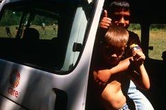 Children in a CARE van, Kosovo Stock Photos