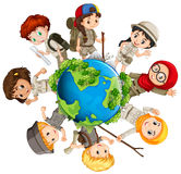 Children caring for the earth. Illustration Royalty Free Stock Photos