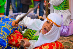 Children carnival arab costumes Stock Images