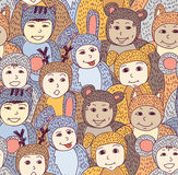 Children carnival costume animals seamless pattern color. Royalty Free Stock Photos