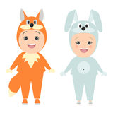 Children in carnival costumes of animals. Fox boy, girl bunny. V vector illustration