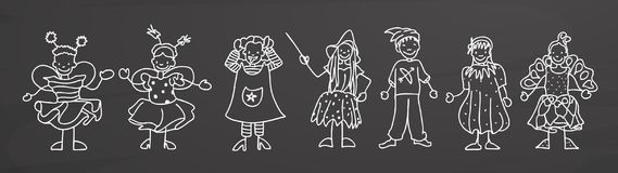 Children in carnival costumes on blackboard Royalty Free Stock Image