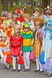 Children in carnival costumes. Children in carnival costume on a city holiday stock photos
