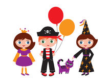 Children in carnival costumes. Princess, pirate and a witch with a magic cat. Halloween, Christmas, New Year, birthday, holiday, party. Vector illustration Stock Photo