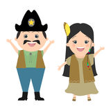 Children in carnival costumes. Wild West, cowboys and Indians. Vector cartoon Royalty Free Stock Photo