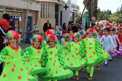Children. Carnival in Cyprus. Pafos, Cyprus - March 16, 2013: Children at the carnival procession royalty free stock photos