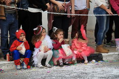 Children. Carnival in Cyprus. Pafos, Cyprus - March 16, 2013: Children at the carnival procession stock images
