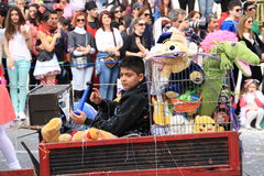 Children. Carnival in Cyprus. Pafos, Cyprus - March 16, 2013: Children at the carnival procession stock photo