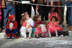 Children. Carnival in Cyprus. Pafos, Cyprus - March 16, 2013: Children at the carnival procession royalty free stock photography