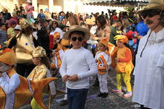 Children. Carnival in Cyprus. Pafos, Cyprus - March 16, 2013: Children at the carnival procession stock image