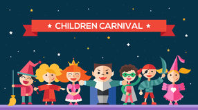 Children carnival - flat design characters website banner Stock Image