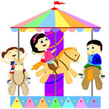 Children on the carousel Royalty Free Stock Image