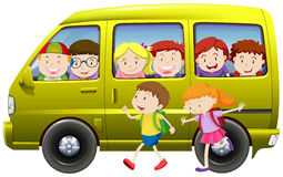 Children carpooling on the van Royalty Free Stock Photos