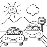 Two cars with kids, mountain and sun Stock Images