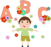 Children cartoon with ABC alphabet in summer Stock Image