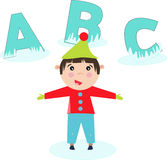 Children cartoon with ABC alphabet in winter Royalty Free Stock Photos