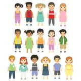 Happy Children, Boys and Girls Vector Set royalty free illustration