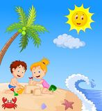 Children cartoon making sand castle at tropical beach Royalty Free Stock Photography
