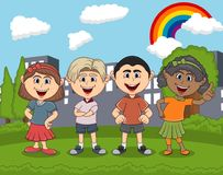 Children cartoon playing at the park cartoon. Full color royalty free illustration