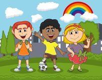 Children cartoon playing at the park cartoon. Full color vector illustration