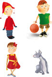 Children and cat Royalty Free Stock Images