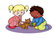 Children with cat Stock Photo