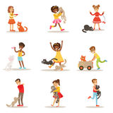 Children And Cats Illustrations Set With Kids Playing And Taking Care Of Pet Animals. Happy Boys And Girls Cartoon Characters With Domesticated Animals Stock Photos