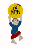 Children Caution 10 mph Sign Ball Stock Photography