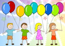 Children celebrate. Children with color ballon on the color background Royalty Free Stock Photography