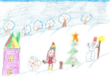 Children celebrate Christmas outdoors. Child drawing Stock Image