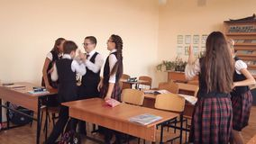 Children celebrate the end of school year.  stock video footage