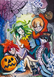 Celebrating Hollowing,. Children celebrate Halloween,evening, party Royalty Free Stock Images