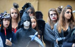 Children celebrate Halloween in Sofia, Bulgaria on Oct. 30, 2014 Royalty Free Stock Photography
