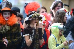 Children celebrate Halloween in Sofia, Bulgaria on Oct. 30, 2014 Stock Photography