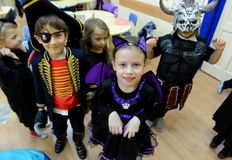 Children celebrate Halloween in Sofia, Bulgaria on Oct. 30, 2014 Royalty Free Stock Image