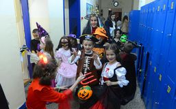 Children celebrate Halloween in Sofia, Bulgaria on Oct. 30, 2014. Children celebrate Halloween at school in Sofia, Bulgaria on Oct. 30, 2014 Stock Photography