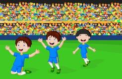 Children celebrate his goal Royalty Free Stock Photo