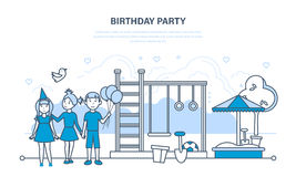 Children celebrate party birthday, walk in the park and playground. Royalty Free Stock Images