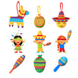 Children celebrate Posada, breaking the traditional donkey Pinata play vector Stock Photos