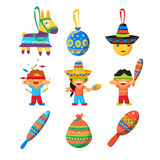 Children celebrate Posada, breaking the traditional donkey Pinata play vector Royalty Free Stock Images