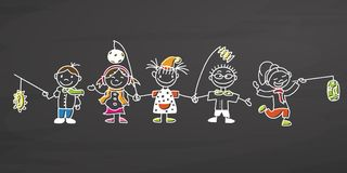 Children celebrate St Martin Day. Handdrawn vector sketch, clean outlines, vintage style blackboard Royalty Free Stock Image