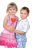 Children celebrate Valentine's Day Stock Images