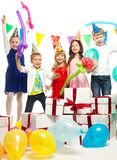 Children celebrating birthday Stock Image