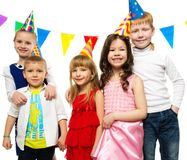 Children celebrating birthday Stock Photos