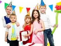 Children celebrating birthday Stock Images