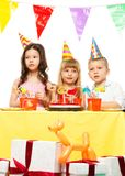 Children celebrating birthday Royalty Free Stock Image