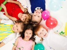 Children celebrating birthday Stock Photo