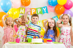 Children celebrating birthday holiday Stock Photography